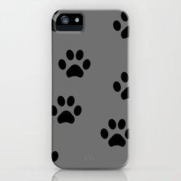 Grey Pawprints iPhone Case