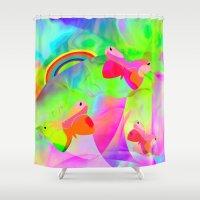 wonderland Shower Curtains featuring Wonderland by dominiquelandau