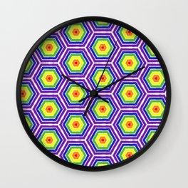Pride Honeycomb Reverse Rainbow Wall Clock