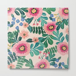 Colorful Tropical Vintage Flowers Abstract Metal Print