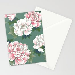 Japanese Vintage Pink Peonies Green Leaves Kimono Pattern Stationery Cards
