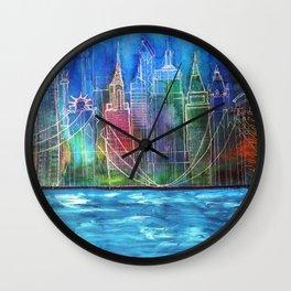 New York Skyline Drawing Wall Clock