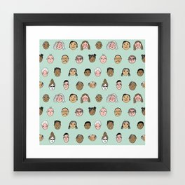Faces people illustration hand drawn different people all shapes and sizes pattern Framed Art Print