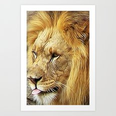 Thirsty Lion Art Print