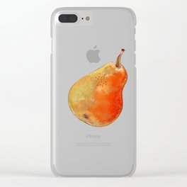 Ripe pear on white background drawing by pastel Clear iPhone Case