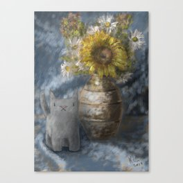 Small Grey Cat and Still Life Canvas Print