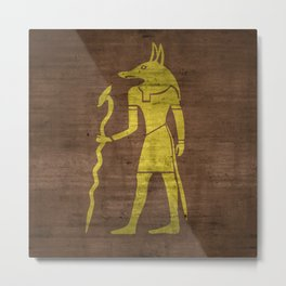 Gold Foil Egypcian God Metal Print