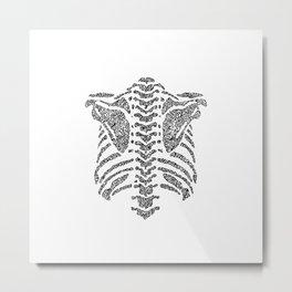 spine ribcage anatomical doodle intricate Metal Print