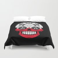 poland Duvet Covers featuring Sugar Skull with Roses and Flag of Poland by Jeff Bartels