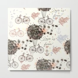 Dandelion fantasy. Pretty design with air dandelions and balloons Metal Print