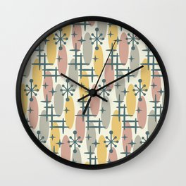 Retro Mid Century Modern Cosmic Surfer Pattern 341 Wall Clock