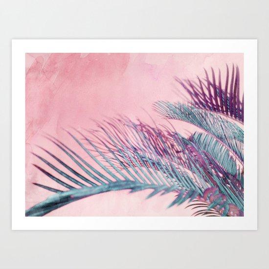 Velvet Pink Palms Art Print