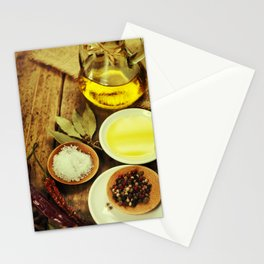 Olive Oil and Spices on wooden table Stationery Cards