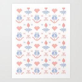 Hand Drawn Embroider Tulip Stitches Seamless Vector Pattern Cross Stitch Art Print