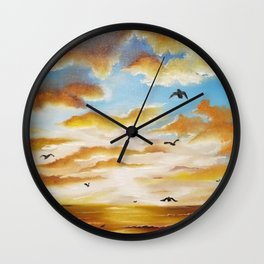 Freedom Sky, Sunset Painting, Freedom Sky Painting, Birds at Sunset Wall Clock
