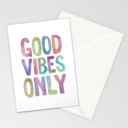 Good Vibes Only Watercolor Rainbow Typography Poster Inspirational childrens room nursery Stationery Cards