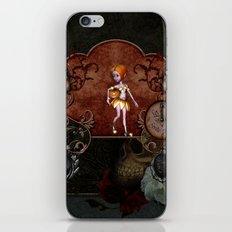 Halloween, cute girl with pumpkin iPhone Skin