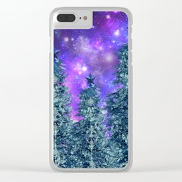 space nebulae trees Clear iPhone Case