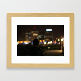 Tel Aviv Cityscape at night Framed Art Print