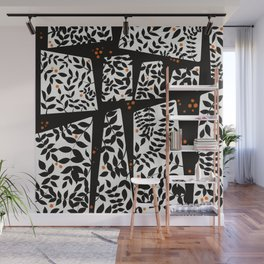 Black leaves on abstract background Wall Mural