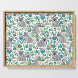 Cute gray koalas with ornaments, tropical flowers and leaves. Seamless tropical pattern. Serving Tray