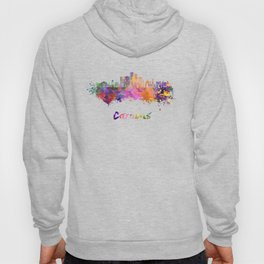 Caracas V2 skyline in watercolor splatters with clipping path Hoody
