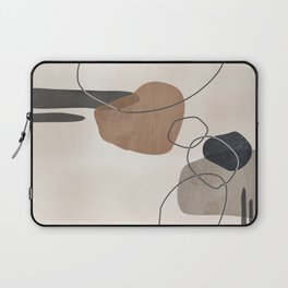 Linkedin Abstract in Taupe, Cinnamon and Charcoal Grey Laptop Sleeve