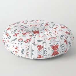 Scandinavian Folk Flower Pattern Floor Pillow