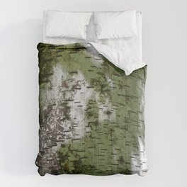 Birch Bark Pattern Green and White Wood Pattern Bring the Outdoors In Comforters