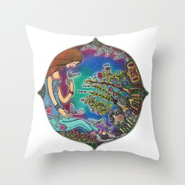 Blueish Life Throw Pillow