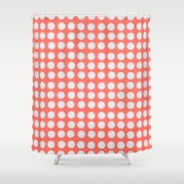 Milk Glass Polka Dots Living Coral Shower Curtain