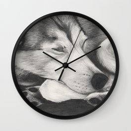Sleeping Wolf Wall Clock