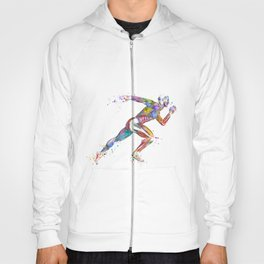 Runner Muscles Colorful Sprinter Watercolor Hoody