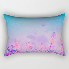 Spring Purple Dream (Neon Pink Wildflowers, Indigo Sky) Rectangular Pillow