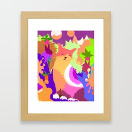 Cat with Abstract Background Framed Art Print