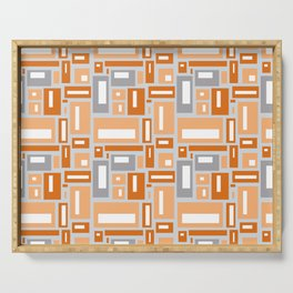 Simple Geometric Pattern in Peach and Gray Serving Tray