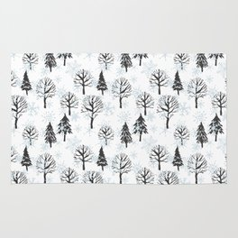 Xmas trees. Winter forest Rug
