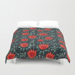 Abstract Red Tulip Floral Pattern Duvet Cover