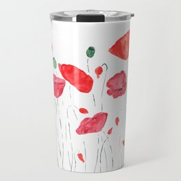 red and orange poppy field Travel Mug