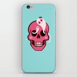 Cute Skull With Spider And Ghosts In Eye Sockets iPhone Skin