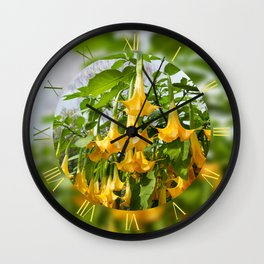 Large yellow Brugmansia called Angels Trumpets Wall Clock
