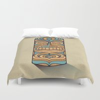 tiki Duvet Covers featuring Tiki by Brad Hansen