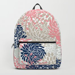 Floral Mixed Blooms, Blush Pink, Navy Blue, Gray, Beige Backpack