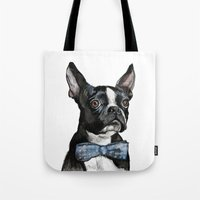 boston terrier Tote Bags featuring Boston Terrier by Orestis Lazos