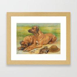 Rhodesian Ridgeback Dog portrait in scenic landscape Painting Framed Art Print