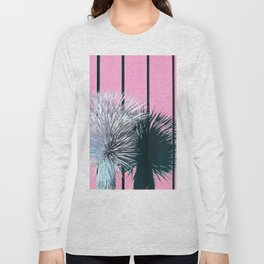 Yucca Plant in Front of Striped Pink Wall Long Sleeve T-shirt