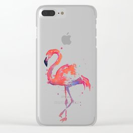 Flamingo Watercolor Clear iPhone Case