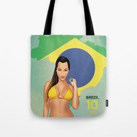 brazil Tote Bags featuring Brazil by Kingdom Of Calm - Print On Demand