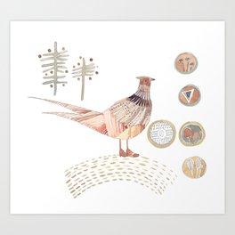 Decorative pheasant Art Print