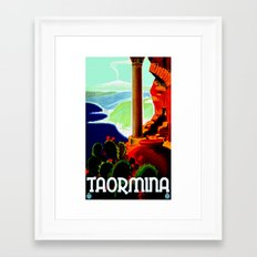 Vintage Taormina Italy Travel Framed Art Print